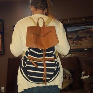 Madden Girl Bags - Madden girl  navy and white stripped backpack